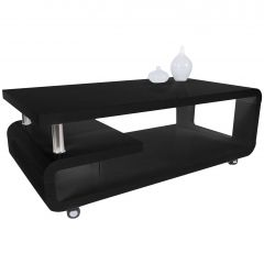 Table basse Hakim 115x60 - noir brillant