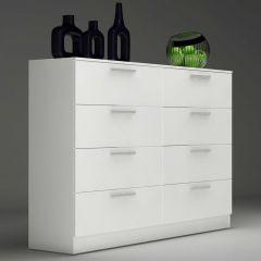 Commode Ramos 8 tiroirs - blanc