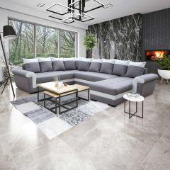 Canapé d'angle Yvette avec canapé-lit & rangement - gris/blanc