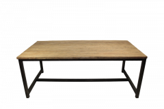 Table de repas Hunter - 200x100 cm - teck / fer recyclé