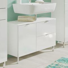 Meuble sous lavabo Mauro 80cm avec 2 portes & tiroir - blanc brillant