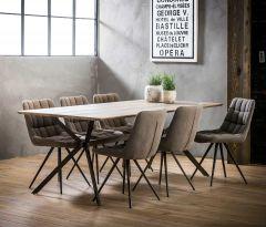 Table à manger 200 barre transversale - 3D chêne en lavage gris