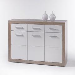 Commode Brekalo 117 cm avec 3 portes & 3 tiroirs - chêne sonoma/blanc