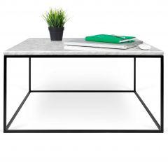 Table basse Gleam 75x75 - marbre blanc/acier