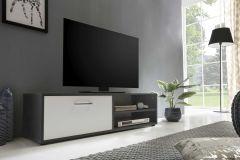 Meuble TV Sami 1 porte 120cm - blanc/gris graphite