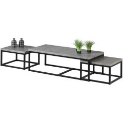 Lot de 3 tables d'appoint Jenna industriel - béton