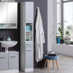 Colonne Ricca 25cm 2 portes & 1 tiroir - blanc/gris clair