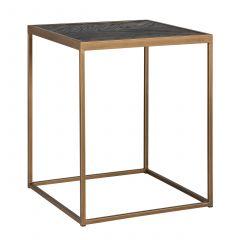 Table d'appoint Bony 50x50cm - noir/or brossé