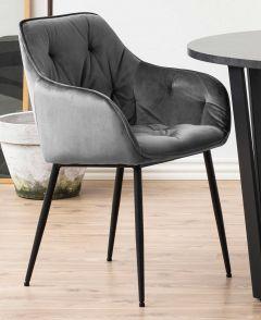 Set de 2 chaises avec accoudoirs Lynn - gris foncé/noir