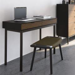 Bureau Selma 100cm avec tiroirs - noir/brun