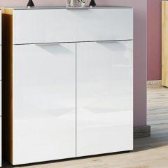 Commode Dudek 83cm avec 2 portes & 1 tiroir - blanc/chêne