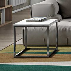 Table d'appoint Prairie - marbre blanc/chrome