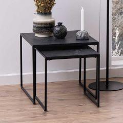 Jeu de 2 tables d'appoint Idris - marbre/noir