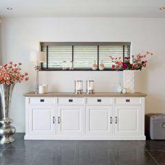 Bahut Oakdale 240cm 4 portes & 4 tirois - blanc/chêne