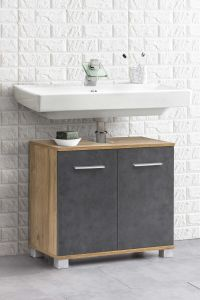 Meuble sous lavabo Kao 2 portes - chêne vieilli/gris graphite