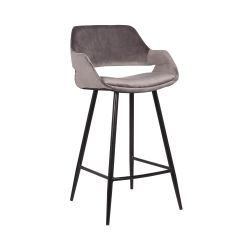Lot de 2 chaises de bar Erika - hauteur d'assise 65 cm - gris