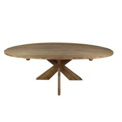 Table de repas Mosy ovale avec pied entrejambe - 220x110 cm - naturel - teck