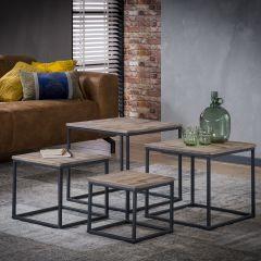 Table de salon Teca serié - 4 quadrangle - Teck usé