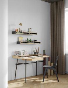 Bureau Ply avec tiroir - chêne/noir