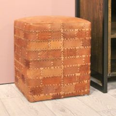 Pouf Patchwork 33x33cm cuir - cognac vintage