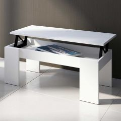 Table basse Ramos avec plateau relevable - blanc mat