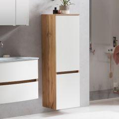 Colonne Kornel/Luna 40cm 2 portes - chêne/blanc mat