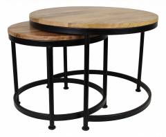 Table basse Steal - grande - bois de manguier / fer - ensemble de 2 - brun clair