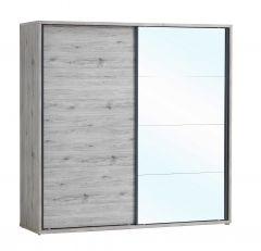 Armoire Forever 220cm avec 2 portes coulissantes & miroir - chêne gris