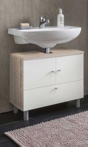 Meuble sous lavabo Benja 3 portes - blanc/chêne