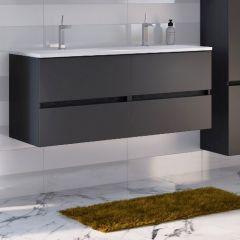 Meuble lavabo Brama 120cm 4 tiroirs - graphite/gris mat