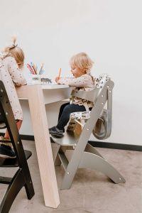 Chaise évolutive Lambda 3 avec tablette à manger - gris
