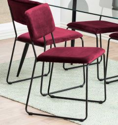 Set de 2 chaises en velours Nelly - bordeaux/noir