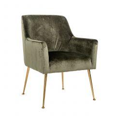 Chaise de salle à manger Hubbs velours - vert/or