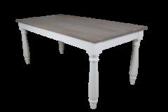 Table de repas - 200x100 cm - vieux gris / blanc