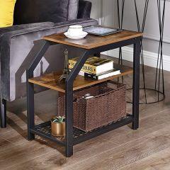 Table d'appoint Ivy avec étagères - brun/noir