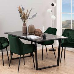 Table à manger Amanda 160x90 - marbre/noir
