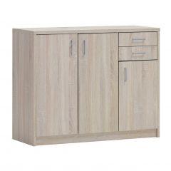 Commode Spacio 3 portes & 2 tiroirs H 84cm - chêne sonoma