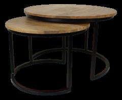 Table basse Ronin - ø70 cm - bois de mangue / fer - ensemble de 2