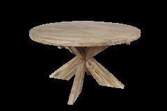 Table de repas ronde avec pied entrejambe - ø130 cm - naturel - teck