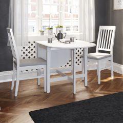 Table gateleg Verner 166x75 - blanc
