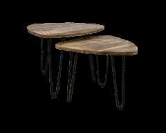 Table basse Dexter - ø60 cm - bois de manguier / fer - set de 2