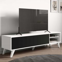 Meuble TV Kim 165cm - blanc/noir