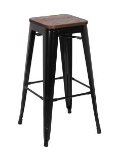 Lot de 4 tabourets de bar Olly industriel - noir