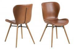 Set de 2 chaises en similicuir Tilda avec pieds obliques - cognac/chêne