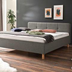 Lit Azis 180x200 avec pieds en bois massif - gris clair/brun