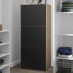 Armoire à chaussures Bamboo - chêne/noir