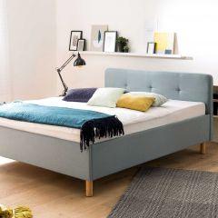 Lit Azis 140x200 avec pieds en bois massif - bleu/brun