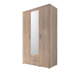 Armoire à vêtements Semina 120cm à 3 portes & 2 tiroirs - chêne