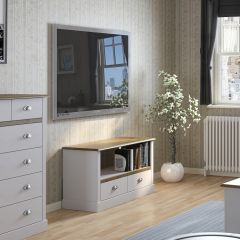 Meuble TV Silia 100cm à 2 tiroirs - blanc/naturel