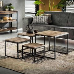 Set de 4 tables basses Teca industriel - teck